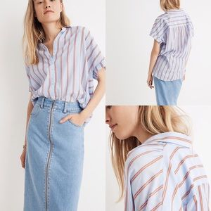 Madewell Striped Collar Button Up Short Sleeve Top